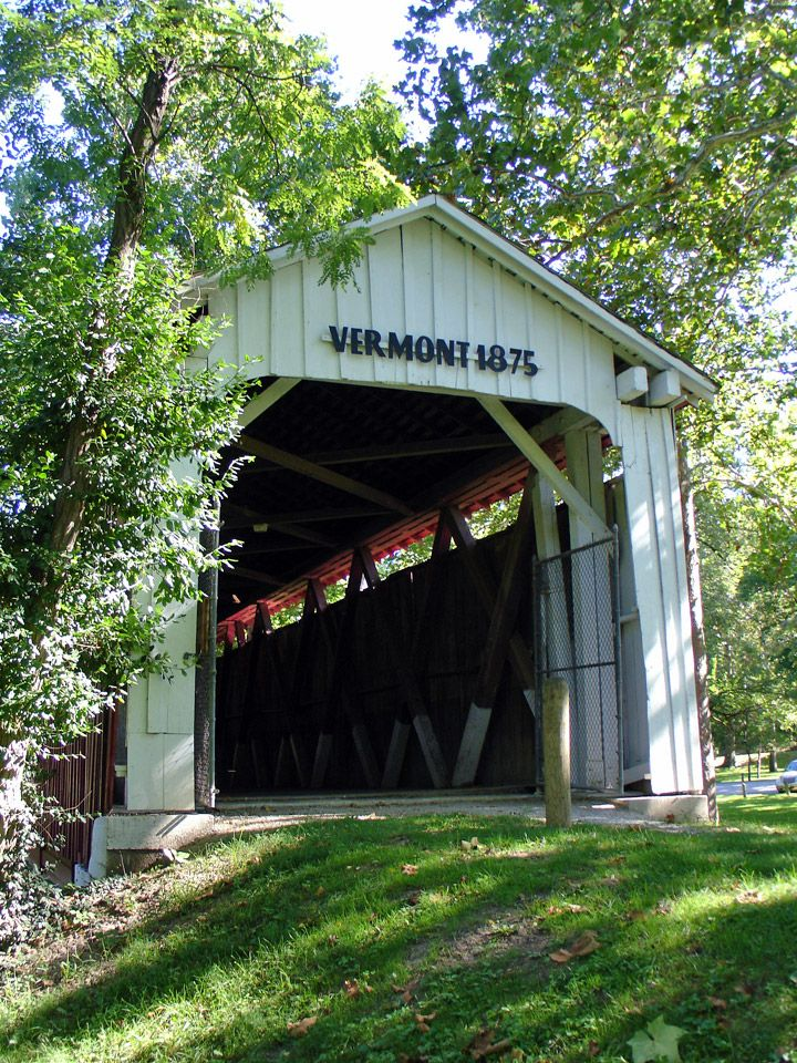 Reads Vermont 1875, but is actually a covered bridge in Howard County, Indiana - Travel Photos by Galen R Frysinger, Sheboygan, Wisconsin