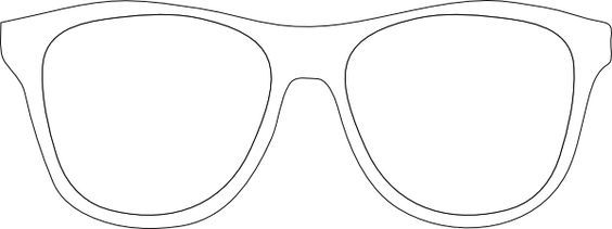 Glasses white. Printable template black and