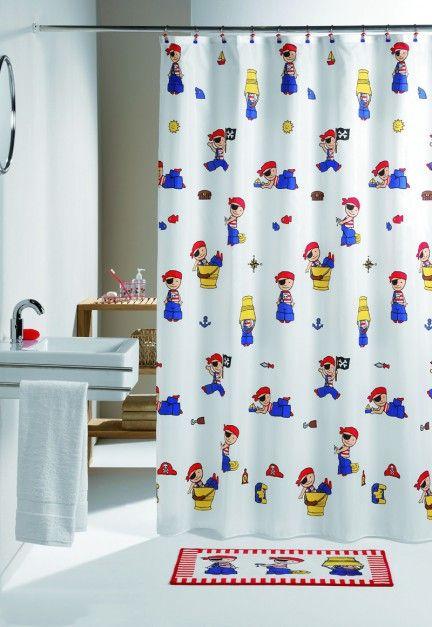 Capitan Kid - zasłona prysznicowa z motywem małego kapitana; w serii również m.in. dywanik, mata antypoślizgowa, szlafrok, akcesoria, naklejki; poliester (można prać w pralce). Cena: ok. 139 zł (180x200 cm), Sealskin/Coram.