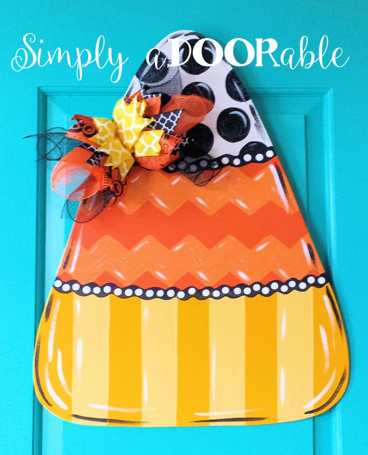 candy corn wood door hanger by simply adoorable halloween door decor halloween decoration - Etsy Halloween Decorations