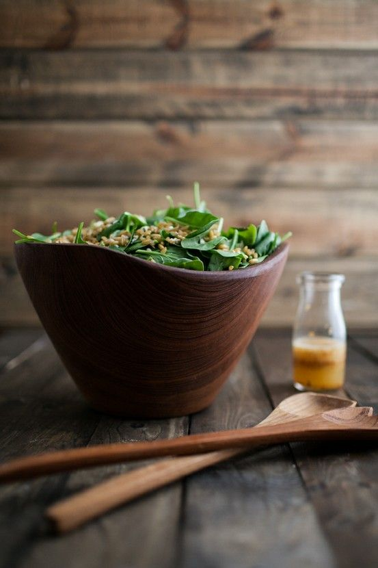 Spinach and Kamut Salad with Chili-Orange Dressing | Naturally Ella. I'm eyeballing the gorgeous wooden bowl.