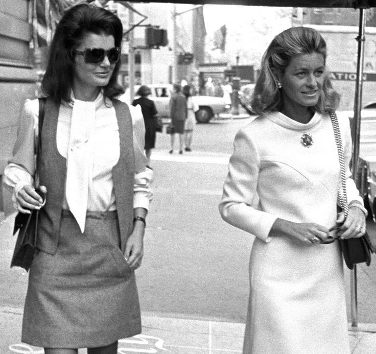 Jackie Kennedy with Jean Smith outside the Colony in 1968