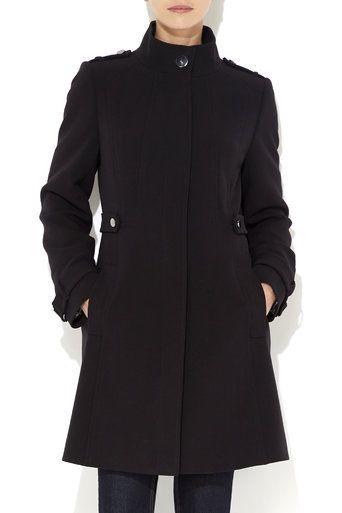 Black Double Crepe Funnel Neck Coat #MyChristmasStory