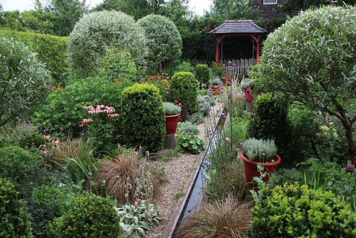 "The wonderful Umberger garden, from ""Tomorrow's Garden"" by Stephen Orr.  Love the red accent."