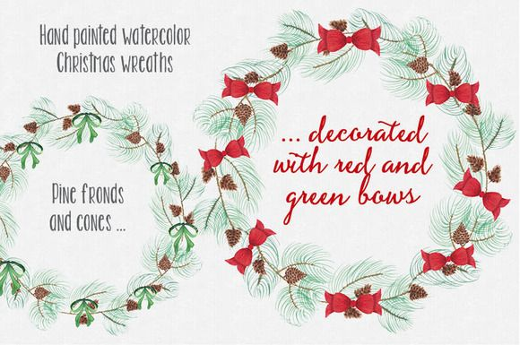 Christmas watercolor wreaths: bows by Lolly's Lane Shoppe on Creative Market