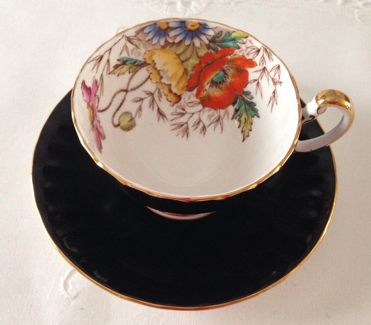 Aynsley Black Oban China Tea Cup & Saucer by NicerThanNewVintage on Etsy https://www.etsy.com/au/listing/236710645/aynsley-black-oban-china-tea-cup-saucer