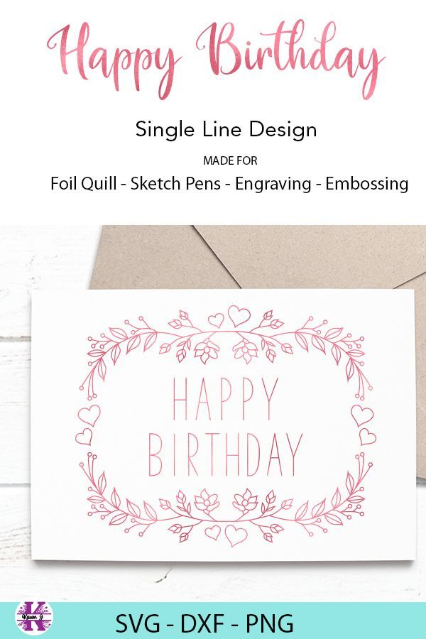 Happy Birthday Svg Card Design For Foil Quill Sketch Pen Engraving And Embossing Happy Birthday Card Design Cricut Birthday Cards Birthday Card Template Free