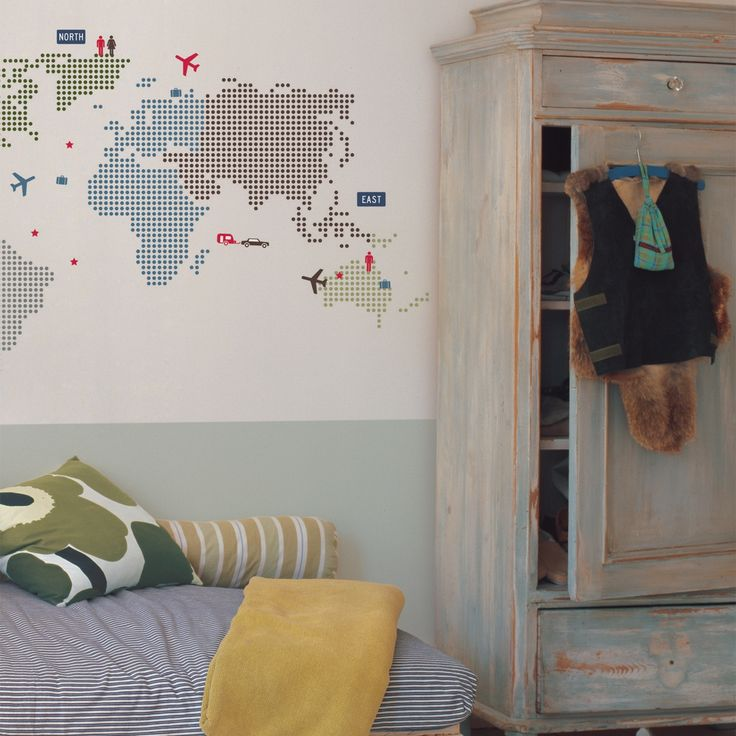 Hs World Map Wall Stickers Room Ideaset