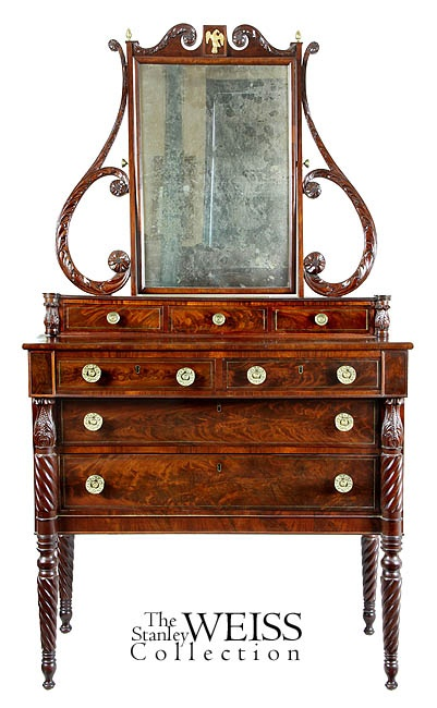 A Magnificent Sheraton Carved Mahogany Dressing Bureau with Brass Inlay,  Salem, Massachusetts, McIntyre - 372 Best SHERATON STYLE : MYO Images On Pinterest Antique