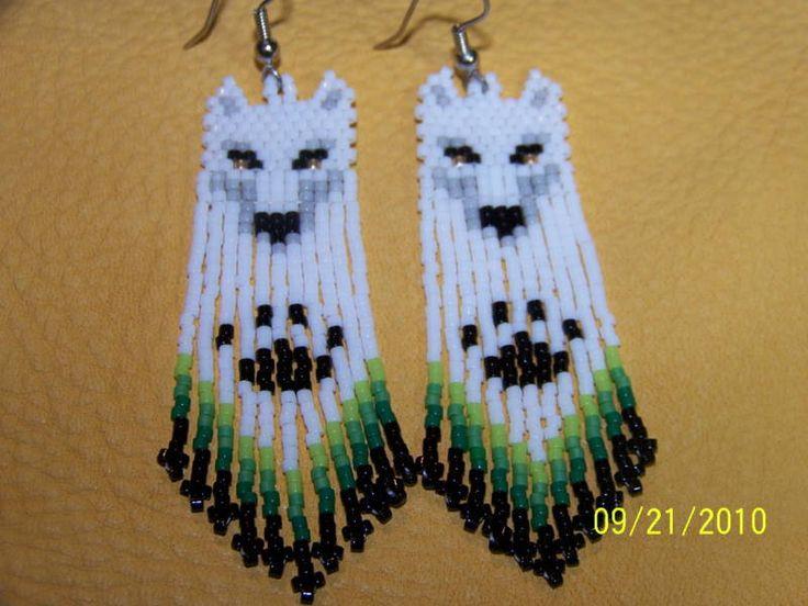 Wolf beaded earrings