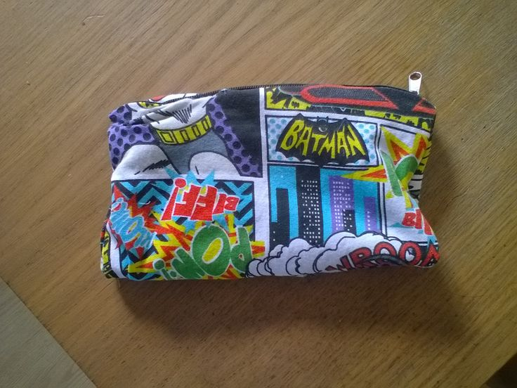 Diy pencil case made from batman boxer shorts that were too big.