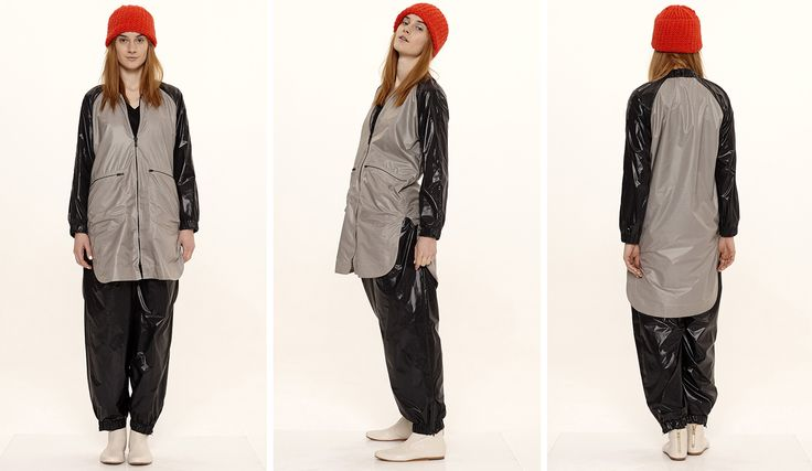 Dori Tomcsanyi WINDBREAKER set: trousers gathered at the waist, with elasctic ankle band, and two toned short jacket.  Available from September at the webshop. http://doritomcsanyi.com/