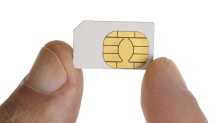 tiny SIM (Subscriber Identity Model) card for use in small, slim phones