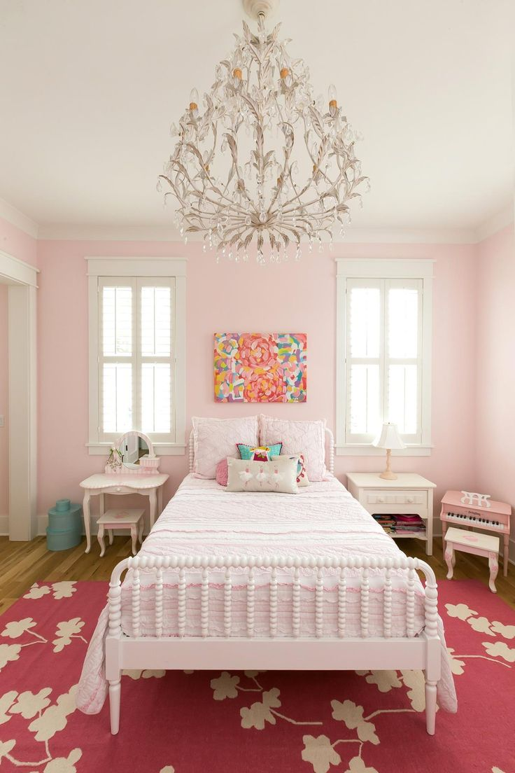 Blue and pink master bedroom - Girls Room Chandelier White Antique Bed Dark Pink Rug Pale Pink Walls Colorful Painting By Jennifer