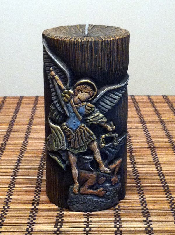 From my collection: Archangel Michael, hand carved candle by Yleana's Candles.