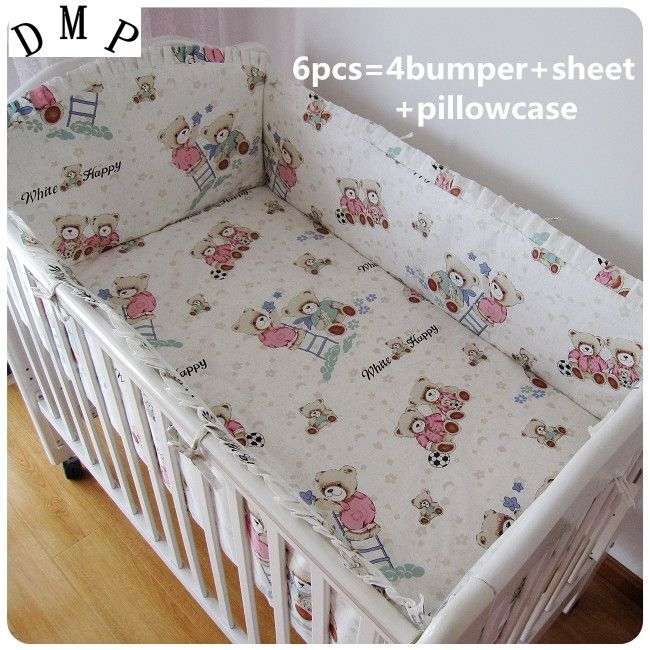 42.80$  Buy here - http://aliv6e.shopchina.info/1/go.php?t=32381017393 - Promotion! 6PCS 100% cotton crib bumper baby cot sets baby bed bumper free shipping (bumpers+sheet+pillow cover)  #buymethat