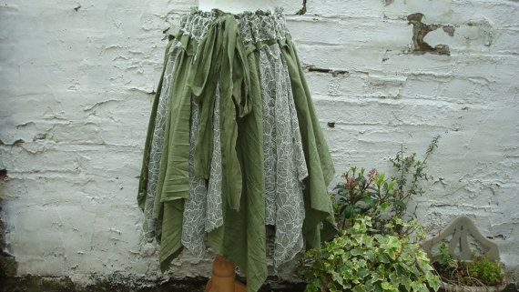Dark mori girl skirt, green upcycled skirt, plus size clothing, olive green skirt, woodland forest alternative shredded