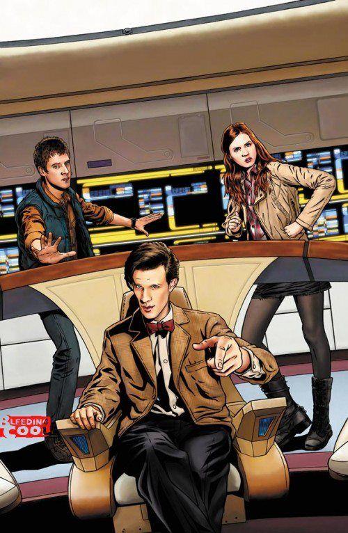 I drive the Enterprise now...starships are cool.  (Doctor Who): Trek Crossover, The Doctors, Doctorwho, Comic Books, Startrek, The Bridges, Dr. Who, Doctors Who Stars, Who Stars Trek