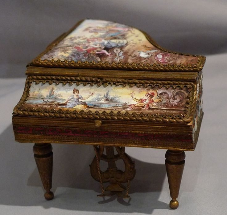Antique musical box in handpainted enamel, champleve enamel and gilt bronze miniature grand piano