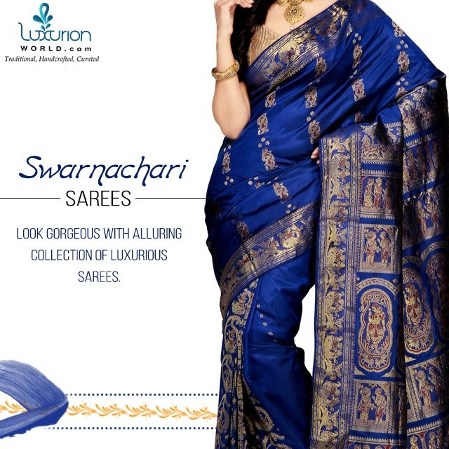 Look gorgeous with alluring collection of luxurious sarees.Shop online- www.luxurionworld.com