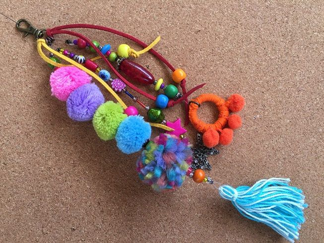 Pom Pom key chain/Beach bag charm/ bag charm/bohemian jewellery/key chain boho/gypsy beach bag charm gift key charm/key chain boho tassel by BelaCiganaBags on Etsy