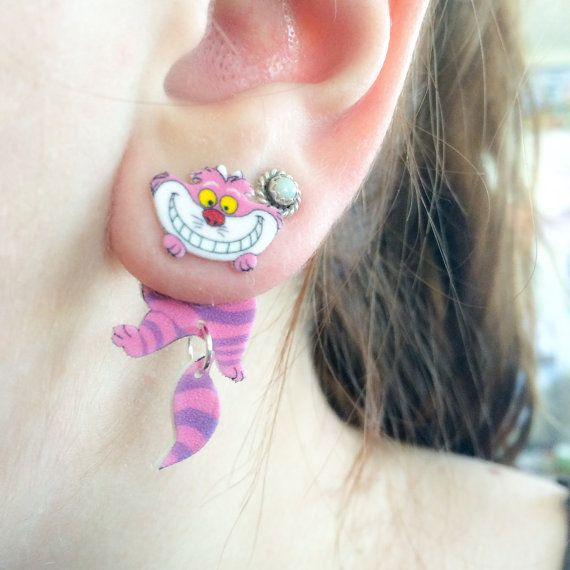 Alice au pays des merveilles d'inspiration Cheshire Cat calibre Fake Dangle Earrings