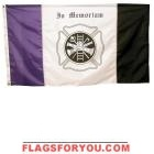 3' x 5' US Made, High Wind Fireman Mourning Flag