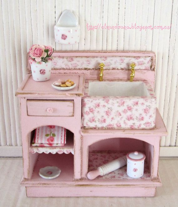 Shabby chic furniture  scale 112 by Mundorosa on Etsy, €28.00 this is aplay kitchen! So sweet!
