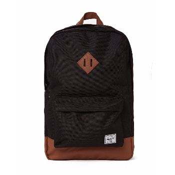 "Black Heritage Backpack : Black Heritage backpack. This is Herschel's Heritage range. It has a laptop sleeve compartment inside and outside keeps a plain and simple look. Another striking design from Herschel. Fully lined with signature coated cotton-poly fabric. Padded straps, eco friendly reinforced bottom, 15"" laptop sleeve pocket, large main compartment. Smaller zippered front compartment with key clip."