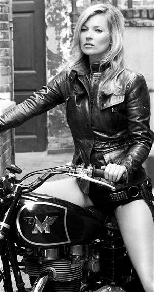 Kate Moss on Marlon Brando's Matchless motorcycle- Matchless is Britain's oldest motorcycle company.