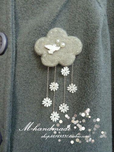 WANT FOR HAIR BARRETT... Snow pigeon retro wool felt brooch