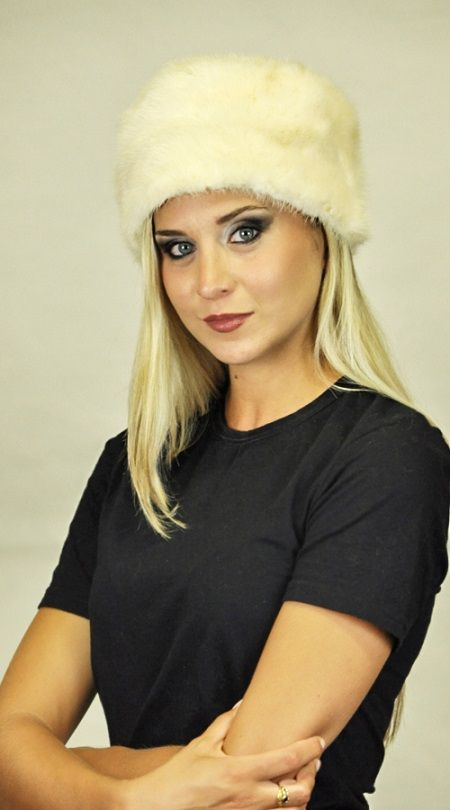 Cappello visone bianco crema naturale  www.amifur.it