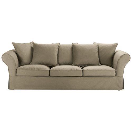 Sofá de 4/5 plazas de algodón topo