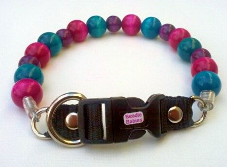 Turquoise, Fuchsia and Purple Dog Collar, Buckle Collars, Martingale Collars, Dog Pearls UNBREAKABLE GUARANTEE! by BeadieBabiez on Etsy https://www.etsy.com/listing/207699587/turquoise-fuchsia-and-purple-dog-collar