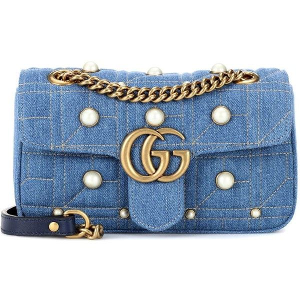 Gucci GG Marmont Denim Shoulder Bag ($1,935) ❤ liked on Polyvore featuring bags, handbags, shoulder bags, blue, gucci handbags, gucci, blue shoulder bag, blue shoulder handbags and gucci purse