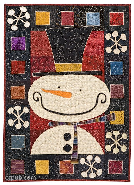 Kim Schaefer's Calendar Quilts xx Loopy continuous line quilting has sweet little snow flakes thrown in!