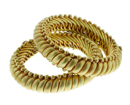 Armbanden, geel gouden Indiase schakelarmbanden