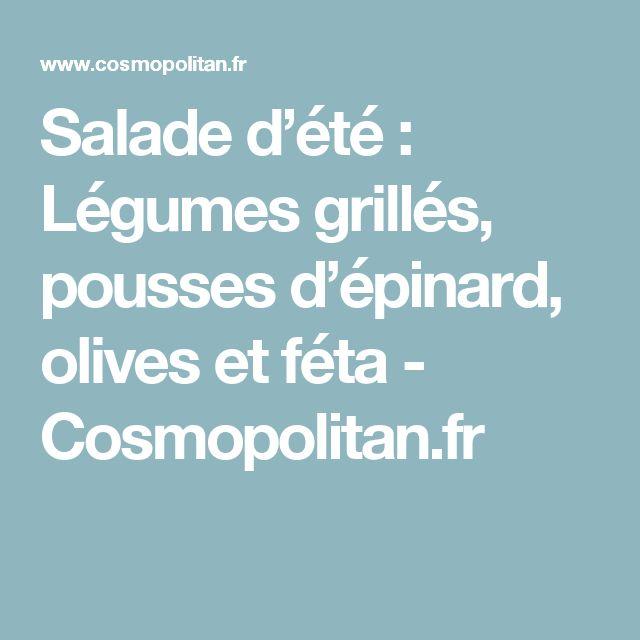 Salade d'été : Légumes grillés, pousses d'épinard, olives et féta  - Cosmopolitan.fr
