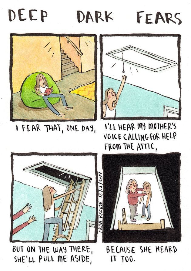 Cartoonist Sheds Light On Your Darkest Most Irrational Fears Huffpost Deep Dark Fears Fear Book Dark Comics