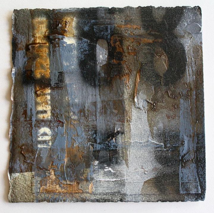 "mixed media on heavy water color paper 5""x5"" Steve Javiel"