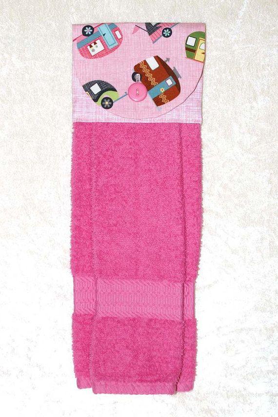 Hanging Kitchen Towel • Pink Hand Towel • RV Bath Towel • Pink Tea Towel • Vintage Camper • Airstream • Classic • Glamping • Retro RV • Pink