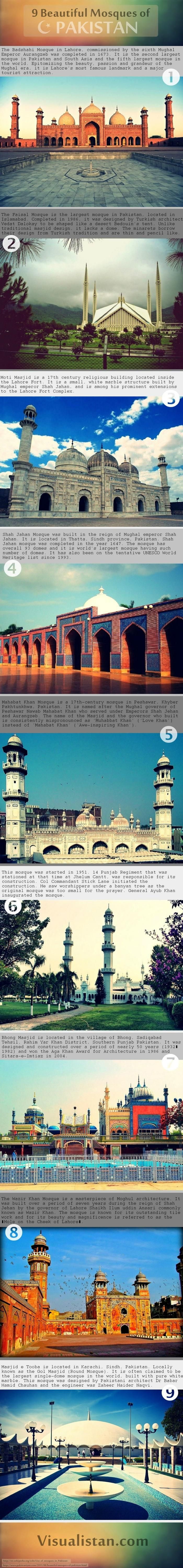 9 Beautiful Mosques Of Pakistan  #Infographic #Mosques #Pakistan  #Travel