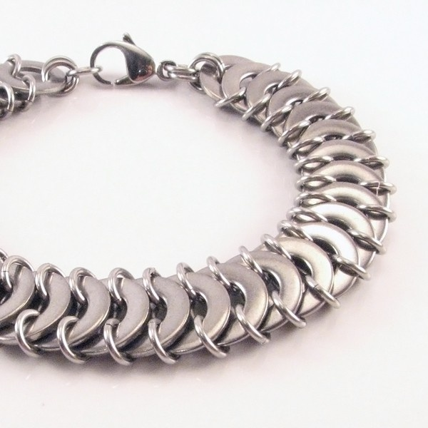Stainless Steel Washer & jumpring Chainmaille Bracelet (incorporates the Euro 4in1 weave) by Greenstar9 - $ 50, via Etsy.