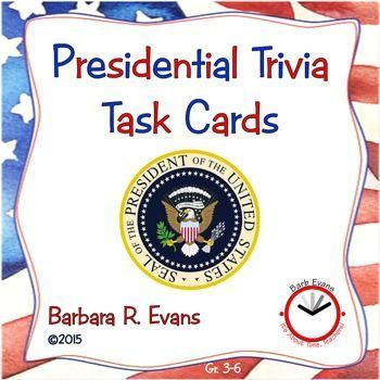 TASK CARDS: Presidential Trivia    These 20 task cards will challenge your students' research skills, both digitally and traditionally.   Color & grayscale.  Perfect prelude to the election.  $