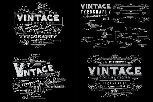 Vintage Typography Ornaments v3 by G7 on @creativemarket