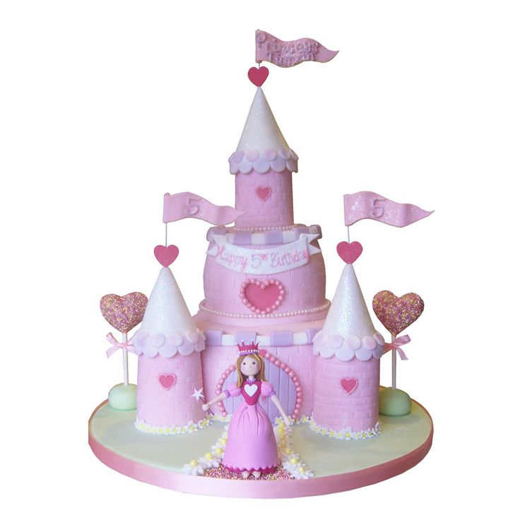 Princess Cake Model/ Topper on a Castle Shaped Cake ...