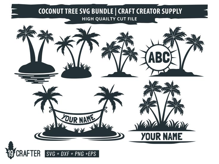 Coconut Tree Bundle (Graphic) by great19 in 2020 Tree