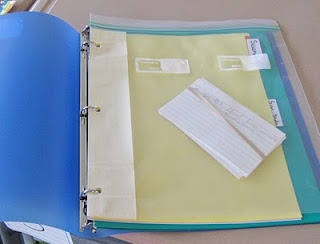 Cheap but strong pockets for binders.. gallon ziploc, masking tape and 3-hole punch!