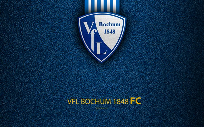 Download wallpapers VfL Bochum 1848, 4k, leather texture, German football club, logo, Bochum, Germany, Bundesliga 2, second division, football