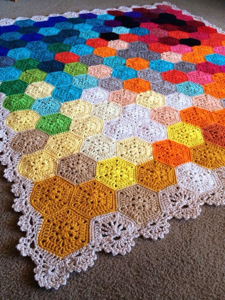 Babylove Brand yarn crochet hexagon blanket